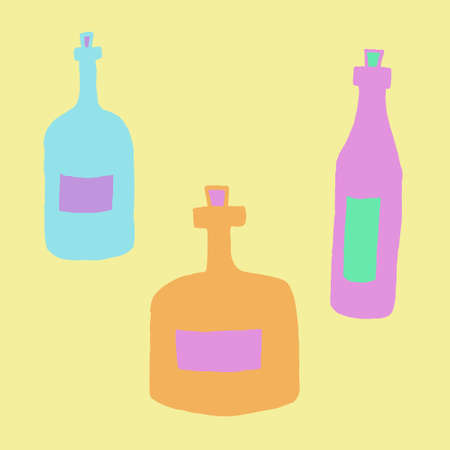 Hand drawn vector illustration of bottles. Collection of colorful glass vials with cork for drink or medicine isolated on yellow background Çizim