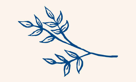 Hand drawn vector illustration of herbs. Doodle floral element. Spring and summer symbol. Contour otline drawing of simple colorful twigs and flowers