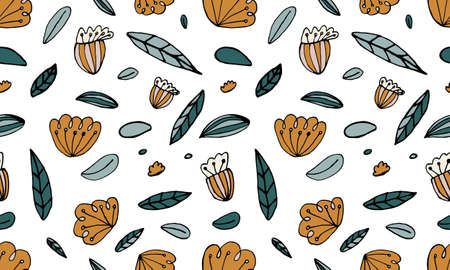 Seamless pattern with hand drawn flowers heads and leaves. Doodle illustration. Simple floral elements isolated on white background
