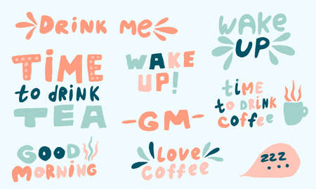 Vector handwritten morning mood phrases. Hand drawn typography of inspirational lettering. Collection of templates for poster, banner or print Çizim