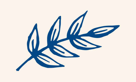 Hand drawn vector illustration of herbs. Doodle floral element. Spring and summer symbol. Contour otline drawing of simple colorful twigs and flowers Banco de Imagens - 150288038