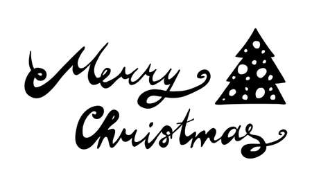 Hand drawn Merry Christmas lettering text. Festive greeting card vector illustration. Holidays time Çizim