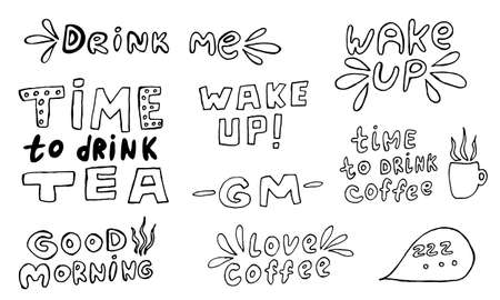 Vector handwritten morning mood phrases. Hand drawn typography of inspirational lettering. Collection of templates for poster, banner or print Illusztráció