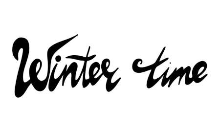 Hand drawn winter time lettering text. Festive greeting card vector illustration. Holidays time Illustration