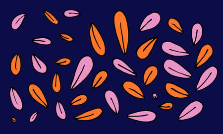Collection of hand drawn leaves. Doodle illustration. Simple floral elements isolated on dark blue background Ilustracja