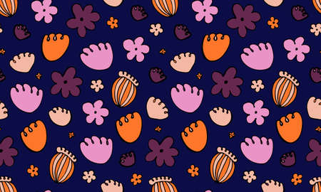 Collection of hand drawn flowers heads. Doodle illustration. Seamless pattern with simple floral elements