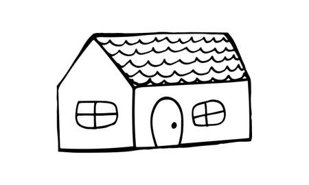 Small hand drawn house, doodle illustration. Relaxing art therapy. Simple building isolated on white background
