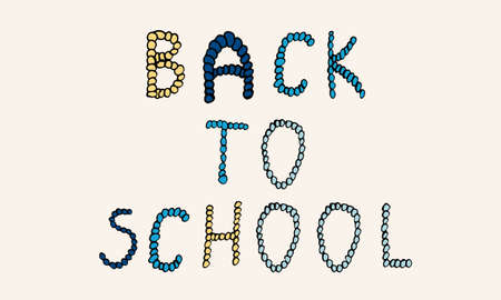 Vector hand drawn back to school phrase. Simple typographic design of Latin capital letters made of small circles. Banque d'images - 150878864