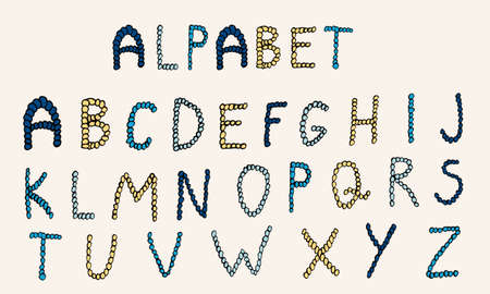 Vector hand drawn alphabet. Colorful English ABCs. Simple typographic design of Latin capital letters made of small circles. Vetores