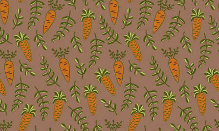 Vector seamless pattern of vegetables. Hand drawn doodle illustration of healthy farm food. Organic veggie grown in the garden.