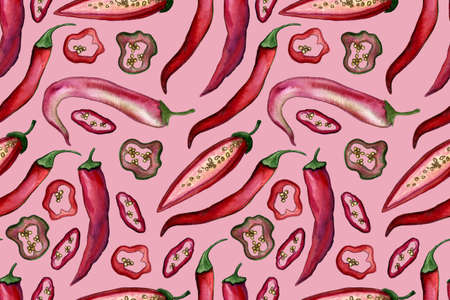 Chili pepper watercolor illustration. Seamless pattern with hand drawn spicy vegetable. Healthy eating ingredient. Vegetarian food