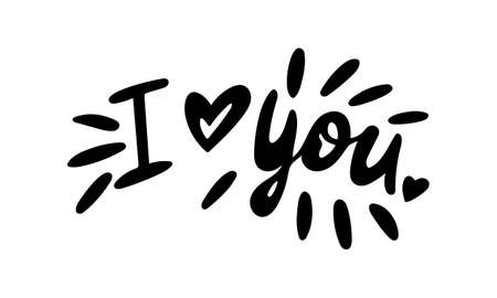 Hand drawn vector inscription. I love you text isolated on white background. Template for banner, poster or print. Summer lettering collection 일러스트