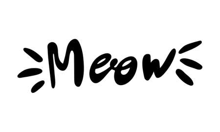 Hand drawn vector inscription. Meow text isolated on white background. Template for banner, poster or print. Summer lettering collection