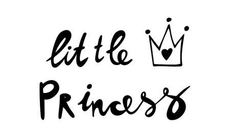 Hand drawn vector inscription. Little princess text isolated on white background. Template for banner, poster or print. Summer lettering collection