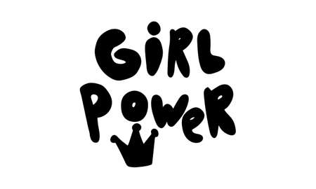 Hand drawn vector inscription. Girl power text isolated on white background. Template for banner, poster or print. Summer lettering collection