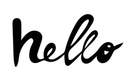 Hand drawn vector inscription. Hello text isolated on white background. Template for banner, poster or print. Summer lettering collection
