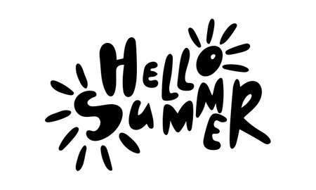 Hand drawn vector inscription. Hello summer text isolated on white background. Template for banner, poster or print. Summer lettering collection
