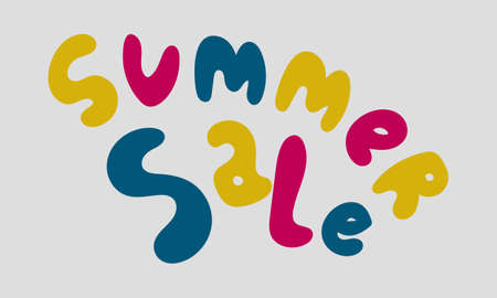 Hand drawn vector inscription. Summer sale text isolated on white background. Template for banner, poster or print. Summer lettering collection