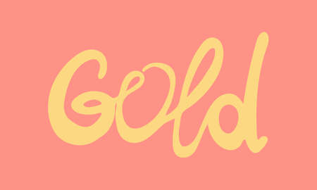 Hand drawn vector inscription. Gold text isolated on pink background. Template for banner, poster or print. Autumn lettering collection