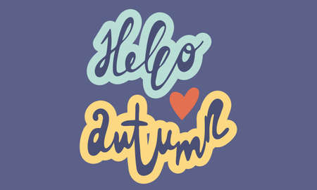 Hand drawn vector inscription. Hello autumn text isolated on blue background. Template for banner, poster or print. Autumn lettering collection