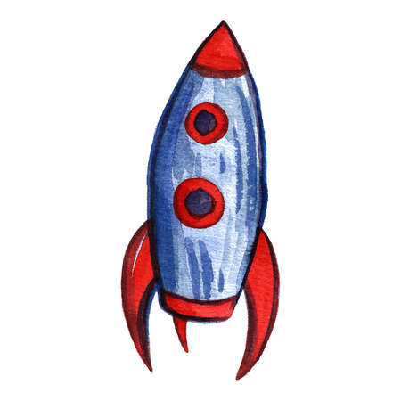 Watercolor space and astronautics illustration. Hand drawn background for kids. Cartoon rocket. Funny drawing for posters, banners, prints, clothing