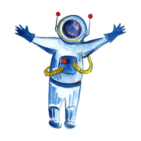 Watercolor space and astronautics illustration. Hand drawn background for kids. Cartoon astronaut. Funny drawing for posters, banners, prints, clothing