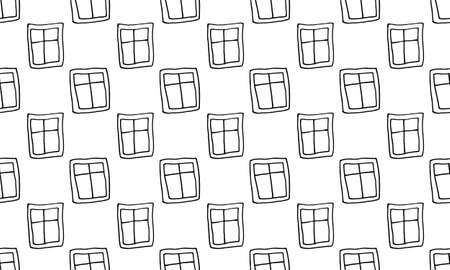 Hand drawn windows. Doodle illustration. Relaxing art therapy. Simple elements, seamless pattern