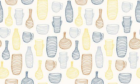Seamless pattern with striped vases. Hand drawn vector illustration. Beautiful interior element. Cozy home object Stock Illustratie