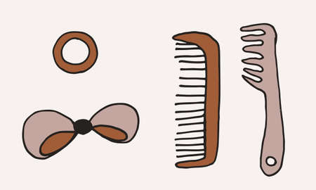Hand drawn grooming tools. Vector illustration of hairdresser accessories. Barber shop, pet service. Hair accessories isolated on white background.