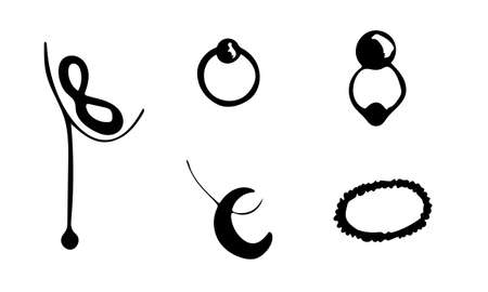 Vector jewelry accessories. Hand drawn doodle illustration of fashionable objects. Female clothing elements. Simple abstract drawing