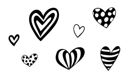 Hand drawn vector hearts illustration isolated on white background. Template for banner, poster or print. Romatic collection Ilustração