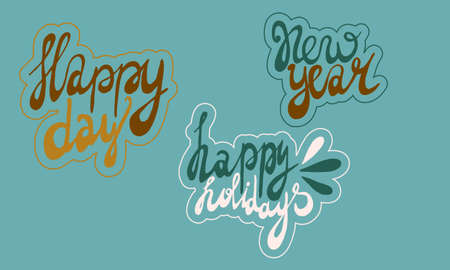handwritten new year lettering. Hand drawn illustration isolated on green background. Template for greeting card, sticker pack, print, poster, banner. Holiday celebration season. 일러스트