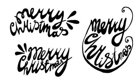handwritten Christmas lettering. Hand drawn illustration isolated on white background. Template for greeting card, sticker pack, print, poster, banner. Holiday celebration season.