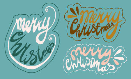 handwritten christmas lettering. Hand drawn illustration isolated on green background. Template for greeting card, sticker pack, print, poster, banner. Holiday celebration season.