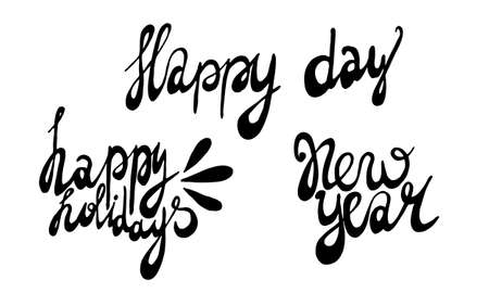 handwritten new year lettering. Hand drawn illustration isolated on white background. Template for greeting card, sticker pack, print, poster, banner. Holiday celebration season. 일러스트
