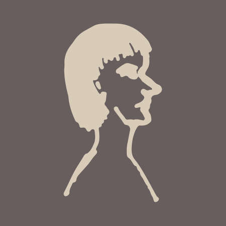 Half face silhouette. Vector hand drawn ink illustration. Peoples head side view. Simple line art portrait