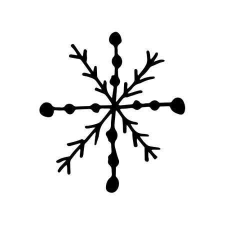 Snowflake simple doodle illusatration. Hand drawn snow element isolated on white background. Winter season, Christmas celebration Иллюстрация
