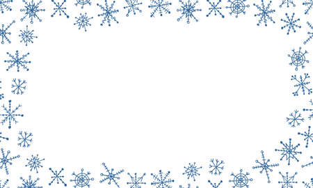 Snowflake simple doodle frame. Hand drawn snow element isolated on white background. Winter season, Christmas celebration