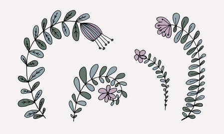 Hand drawn doodle flower illustration. Simple floral element isolated on white background Иллюстрация
