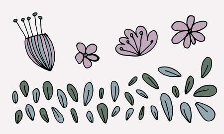 Hand drawn doodle flower head illustration. Simple floral element isolated on white background Иллюстрация