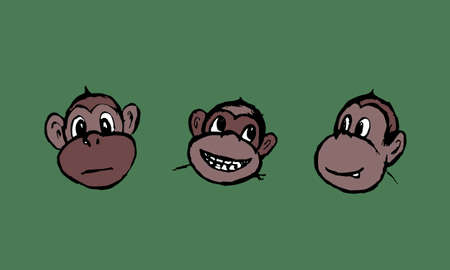 Funny monkeys illustration. Hand drawn vector jungle animal isolated on green background. Playful face. Character for childrens book, poster, print or design element.