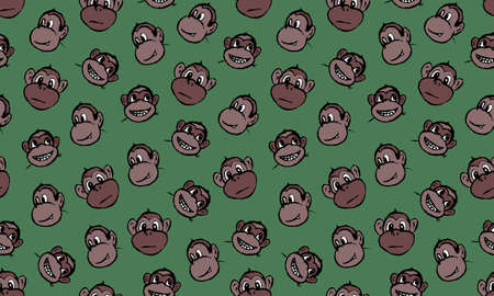 Funny monkey illustration. Seamless pattern. Hand drawn vector jungle animal with playful face. Character for childrens book, poster, print or design element. Иллюстрация