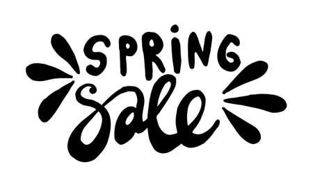Handwritten spring lettering. Vector hand drawn illustration. Template for seasonal poster, invitation, banner