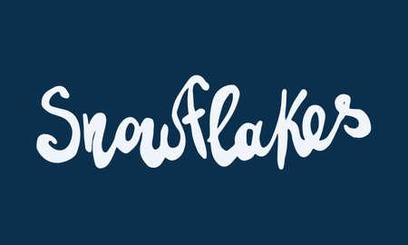 Snowflakes doodle illusatration. Hand drawn typography isolated on white background. Winter season, Christmas celebration