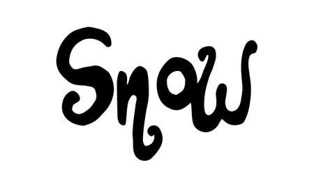 Snow doodle illusatration. Hand drawn typography isolated on white background. Winter season, Christmas celebration