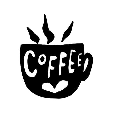 Hand drawn coffee cup. Vector illustration isolated on white background. Template for sticker pack, greeting card, banner or poster. Morning mood