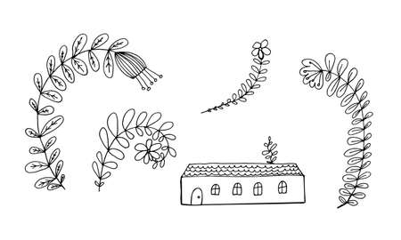 Small house surrounded by flowers. Hand drawn doodle illustration. Relaxing art therapy. Simple floral elements isolated on white background