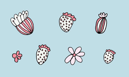 Hand drawn doodle flower head illustration. Simple floral element isolated on blue background Иллюстрация