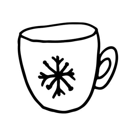Hand drawn Christmas cup. Vector illustration isolated on white background. Festive New Year decoration Иллюстрация