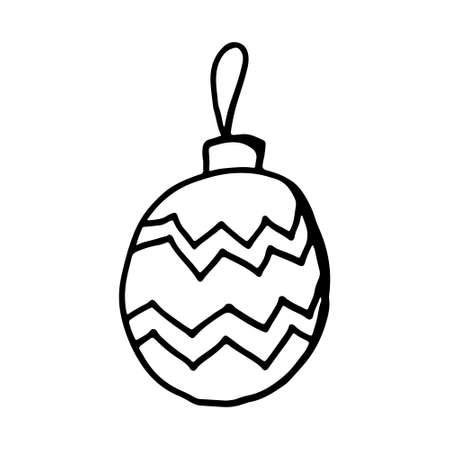 Hand drawn Christmas ornament. Vector illustration isolated on white background. Festive New Year decoration